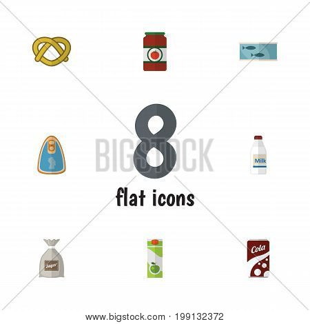 Flat Icon Food Set Of Canned Chicken, Tin Tuna, Packet Beverage And Other Vector Objects