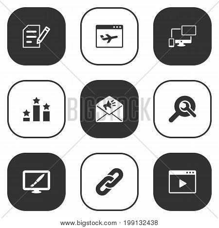 Collection Of Author Rights, Airplane, Site And Other Elements.  Set Of 9 Search Icons Set.
