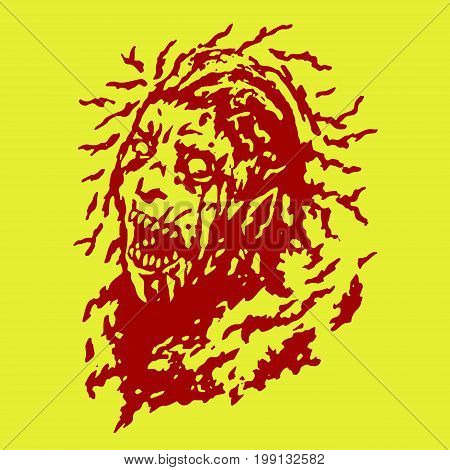 Scary head of zombie woman with disheveled hair. Vector illustration. The horror genre. Dangerous female character face.