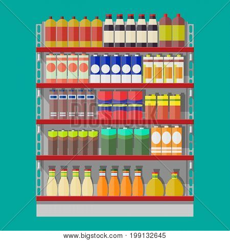 Supermarket shelves with groceries. Goods and products. Food and drinks in boxes and bottles. Various packages on racks. Mall, shop, retail store. Vector illustration in flat style