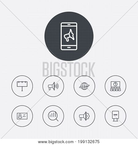 Collection Of Brand Awareness, Advertising Agency, Billboard Elements.  Set Of 9 Commercial Outline Icons Set.