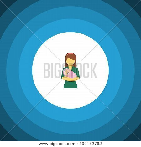 Woman Vector Element Can Be Used For Woman, Kid, Mother Design Concept.  Isolated Kid Flat Icon.