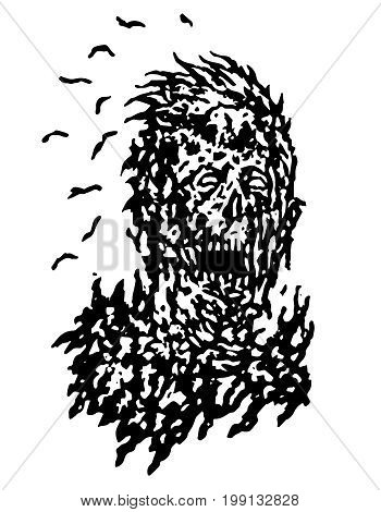 Decayed head of zombie. Vector illustration. Black and white colors. The horror genre. Scary character face.