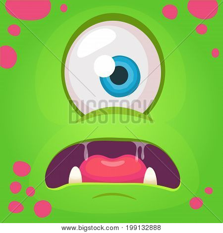 Cartoon angry monster face avatar. Vector Halloween green monster with one eye. Monster mask
