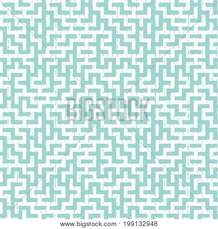 Irregular maze shapes tiling contemporary graphic. Abstract geometric background design. Vector seamless blue and white pattern.