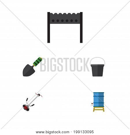 Flat Icon Dacha Set Of Container, Barbecue, Trowel And Other Vector Objects