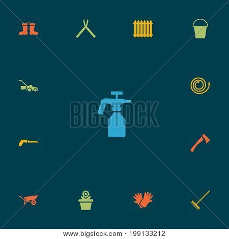 Collection Of Flowerpot, Wheelbarrow, Spray Bootle And Other Elements.  Set Of 13 Horticulture Icons Set.