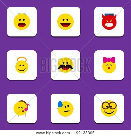 Flat Icon Face Set Of Cheerful, Pouting, Wonder And Other Vector Objects