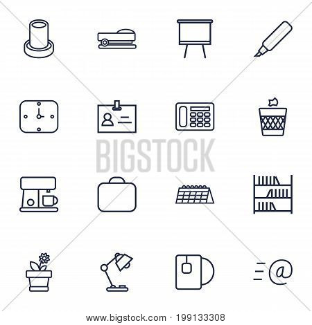 Collection Of Tea, Wastebasket, Flowerpot And Other Elements.  Set Of 16 Bureau Outline Icons Set.