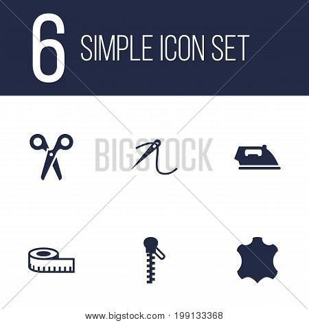 Collection Of Fastener, Flatiron, Meter And Other Elements.  Set Of 6 Stitch Icons Set.