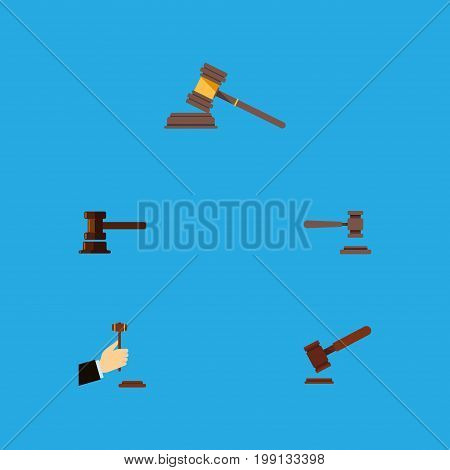 Flat Icon Court Set Of Government Building, Justice, Legal And Other Vector Objects