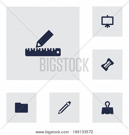 Collection Of Supplies, Paper  Clamp, Pencil And Other Elements.  Set Of 6 Instruments Icons Set.