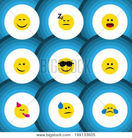 Flat Icon Expression Set Of Asleep, Happy, Party Time Emoticon And Other Vector Objects