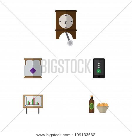 Flat Icon Oneday Set Of Clock, Whiteboard, Beer With Chips And Other Vector Objects