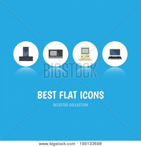 Flat Icon Computer Set Of Vintage Hardware, Computing, Notebook And Other Vector Objects