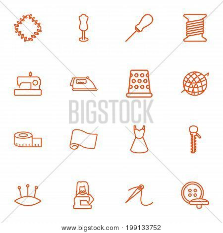 Collection Of Crochet, Dress, Dummy And Other Elements.  Set Of 16 Tailor Outline Icons Set.