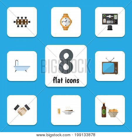 Flat Icon Life Set Of Bureau, Television, Beer With Chips And Other Vector Objects