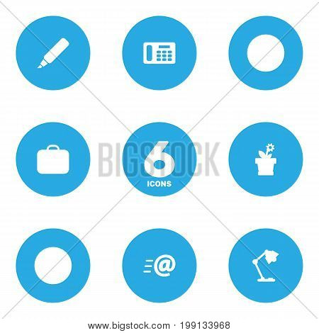 Collection Of Phone, Case, Message And Other Elements.  Set Of 6 Workspace Icons Set.
