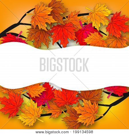 Autumn maple tree and its branches, vector art illustration.