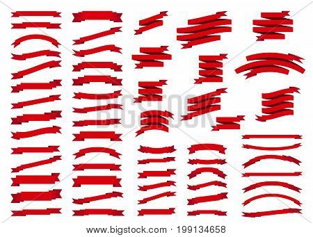 Red ribbon set in flat style isolated on white background. Xmas sticker and decoration design elements. Vector tapes and banner shapes collection.