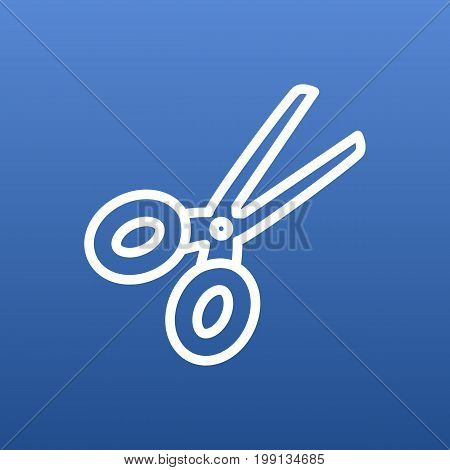 Vector Scissors Element In Trendy Style.  Isolated Clippers Outline Symbol On Clean Background.