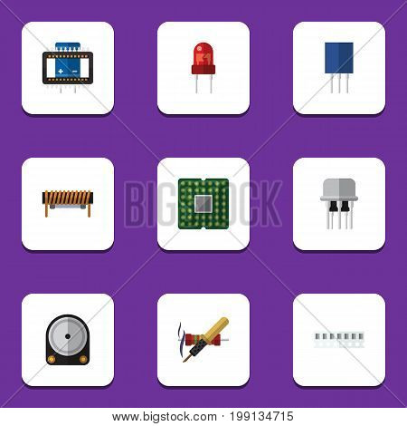 Flat Icon Device Set Of Recipient, Bobbin, Resist And Other Vector Objects