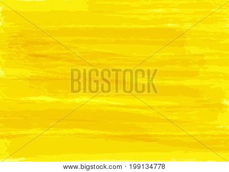 Yellow watercolor texture. Rectangular bright background. Ink sketch brush strokes. Vector illustration.