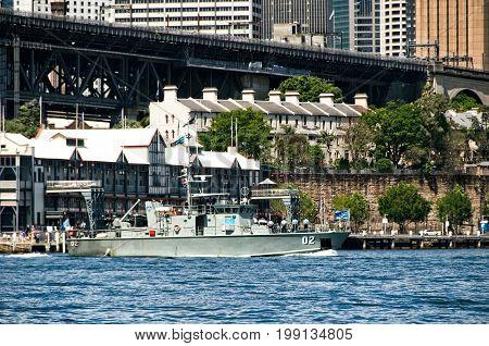 SYDNEY AUSTRALIA - October 5th. 2013: Warship at Australian Navy Centenary Celebrations. Sydney Harbour New South Wales Australia.