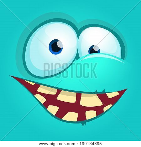 Cartoon monster face. Vector Halloween blue monster avatar with wide smile