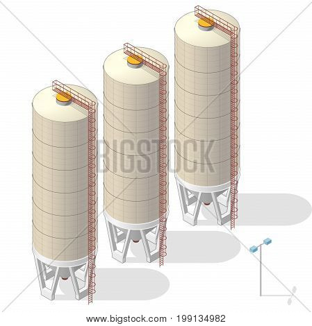 Grain silo isometric building in mobile phone, isometric. Ochre seed elevator agriculture, farming, husbandry in communication technology paraphrase. Isolated vector illustration, white background.
