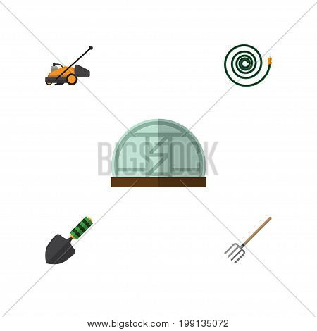 Flat Icon Garden Set Of Hosepipe, Hay Fork, Lawn Mower And Other Vector Objects