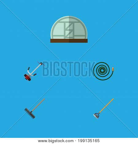 Flat Icon Dacha Set Of Tool, Hothouse, Hosepipe And Other Vector Objects
