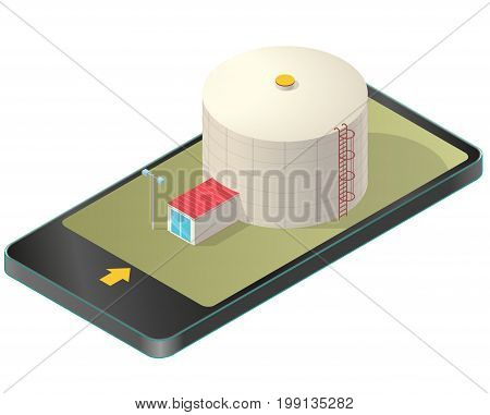 Grain silo isometric building in mobile phone, isometric. Ochre seed elevator agriculture, farming, husbandry in communication technology. Isolated vector illustration, white background.