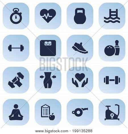 Collection Of Weights, Timer, Barbell And Other Elements.  Set Of 16 Training Icons Set.
