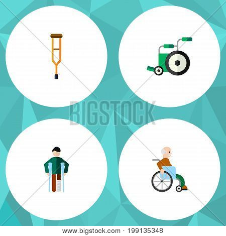 Flat Icon Cripple Set Of Handicapped Man, Injured, Stand Vector Objects