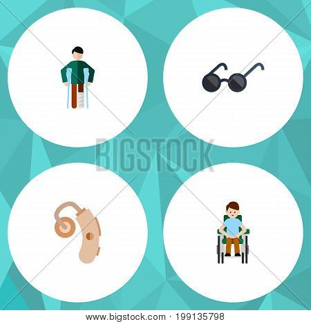 Flat Icon Cripple Set Of Disabled Person, Injured, Spectacles And Other Vector Objects