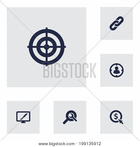 Collection Of Audience, Click, Search And Other Elements.  Set Of 6 Search Icons Set.