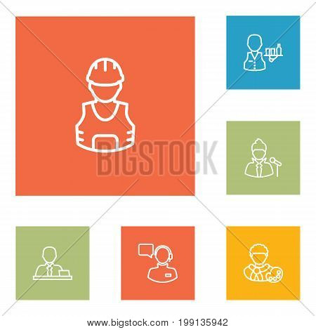 Collection Of Manager, Artist, Worker And Other Elements.  Set Of 6 Job Outline Icons Set.