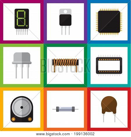 Flat Icon Appliance Set Of Resistor, Resist, Triode And Other Vector Objects