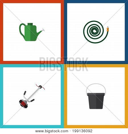 Flat Icon Dacha Set Of Grass-Cutter, Bailer, Hosepipe And Other Vector Objects