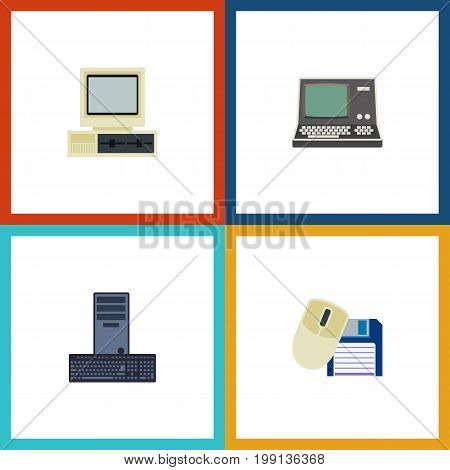 Flat Icon Laptop Set Of Computer Mouse, Processor, Computer And Other Vector Objects