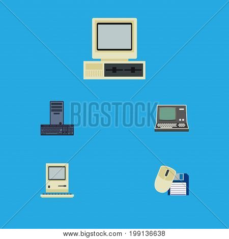 Flat Icon Computer Set Of Processor, Computing, Technology And Other Vector Objects