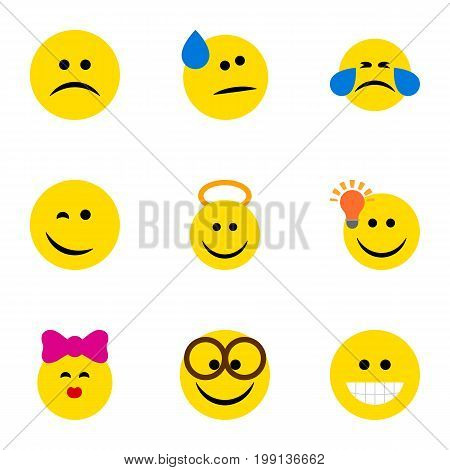 Flat Icon Face Set Of Grin, Tears, Pleasant And Other Vector Objects