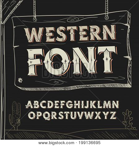 Retro western font. alphabet on dark background.