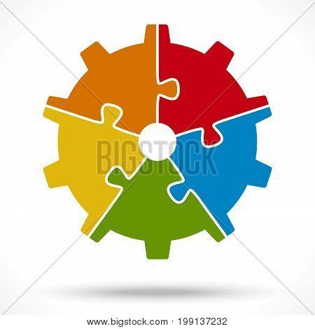 Puzzle Gear Wheel For Teamwork Symbolism