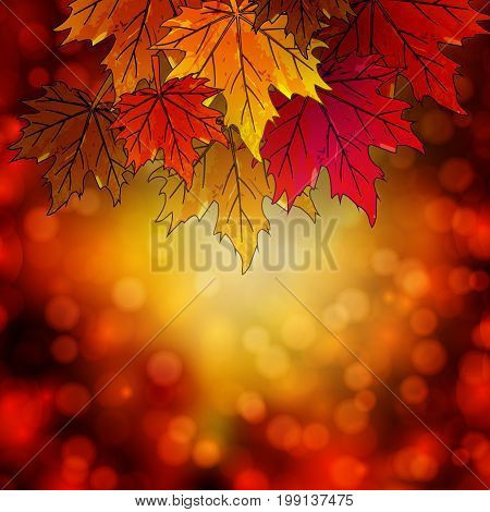 The border with autumn leaves in the autumn background, vector art illustration.