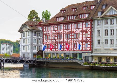 Lucerne, Switzerland - The old houses in Lucerne, Switzerland