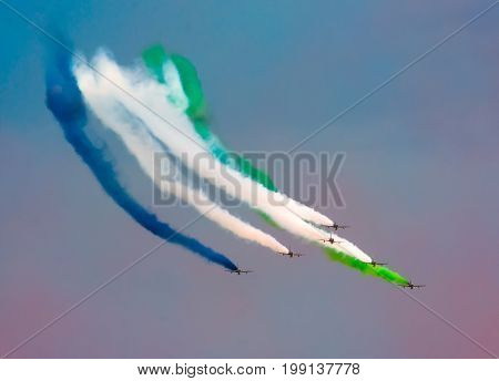 Aircraft Fighter Jets Smoke The Background Of Sky Clouds