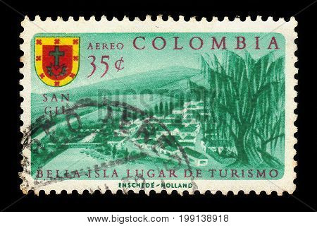 Colombia - circa 1961: A stamp printed in Colombia shows San Gil, small andean city in northern Colombia, circa 1961