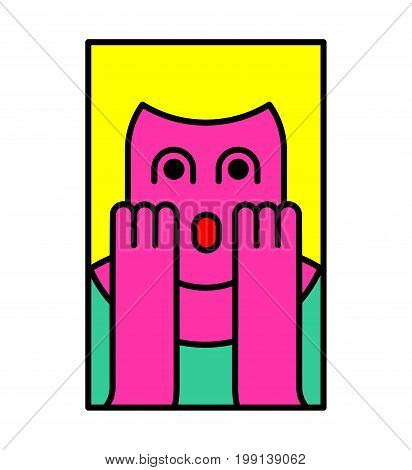 Oh My God Woman Pop Art Style. Omg Girl In Fear. Exclamation Is Shocked. Surprised With News Sticker
